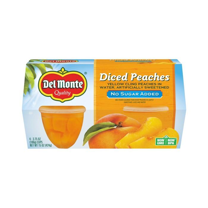 Del Monte No Sugar Added Diced Peaches - 4pk - image 1 of 1