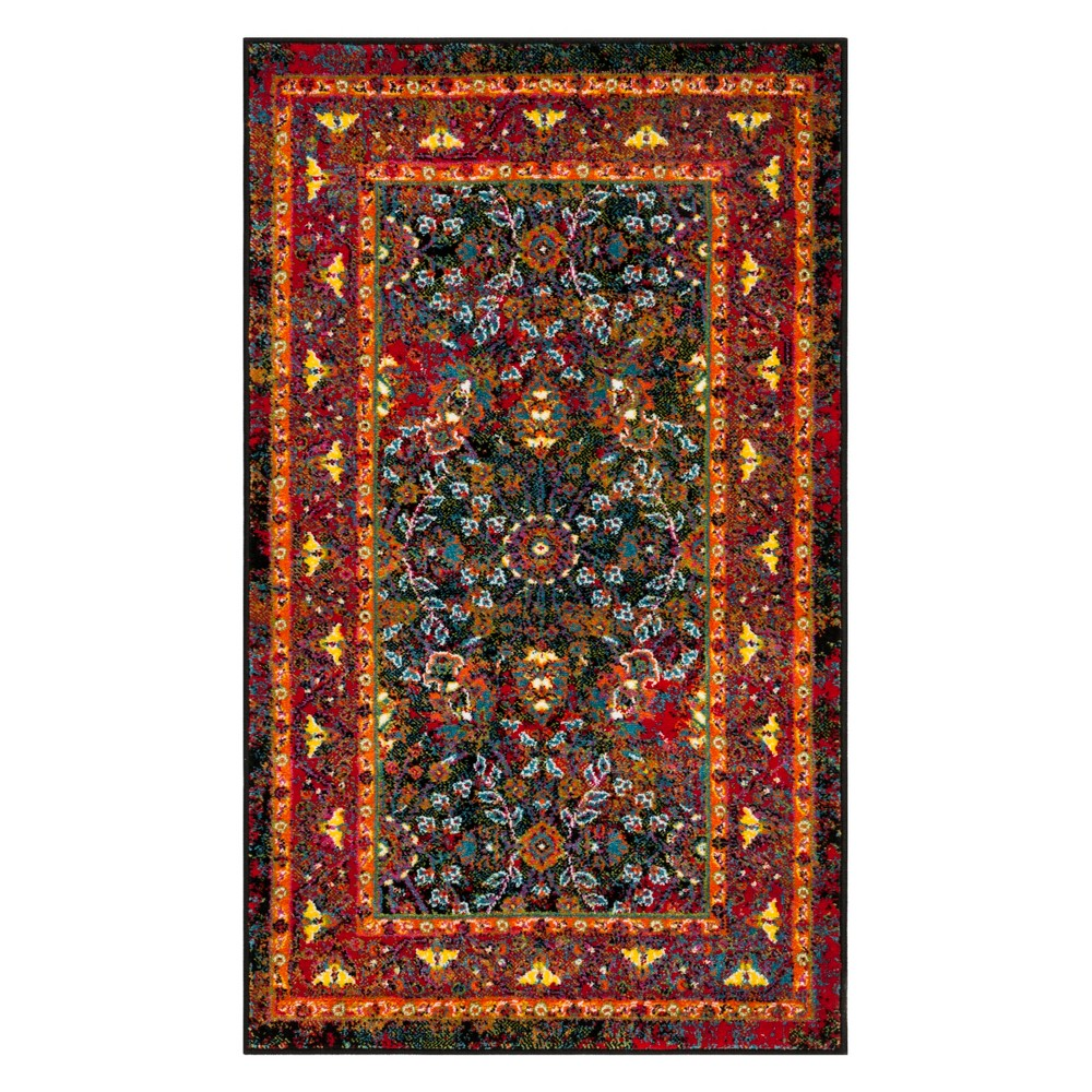 3'X5' Leaf Loomed Accent Rug Black/Red - Safavieh