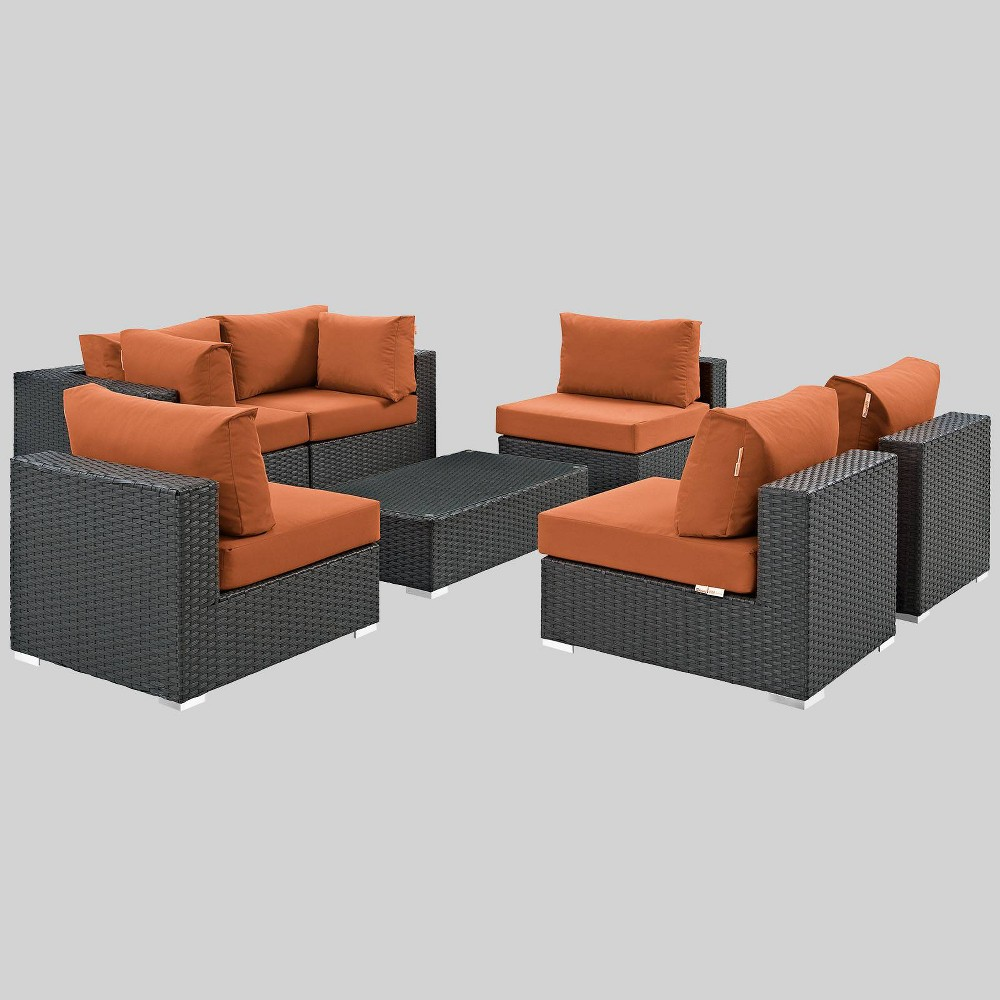 Sojourn 7pc Outdoor Patio Sectional Set with Sunbrella Fabric - Tuscan - Modway