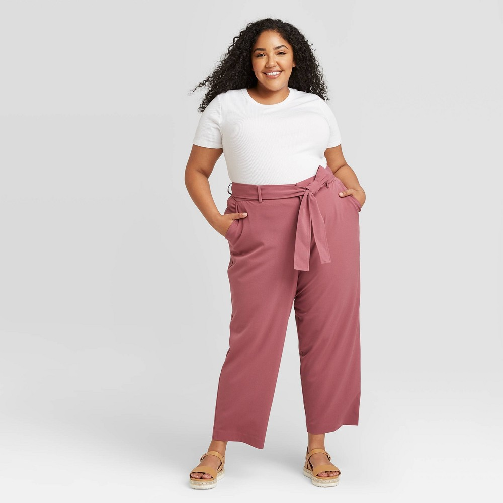 Reviews Women's Plus Size High-Rise Tie Waist Straight Pants - A New Day™