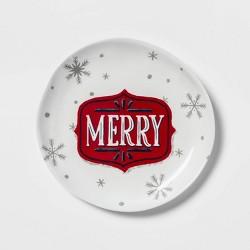 "7.8"" Melamine Merry Salad Plate White - Wondershop™"