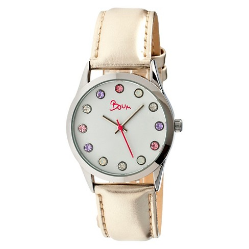 Women's Boum Savant Watch with Crystal Markers and Genuine Leather Strap-Cream - image 1 of 3