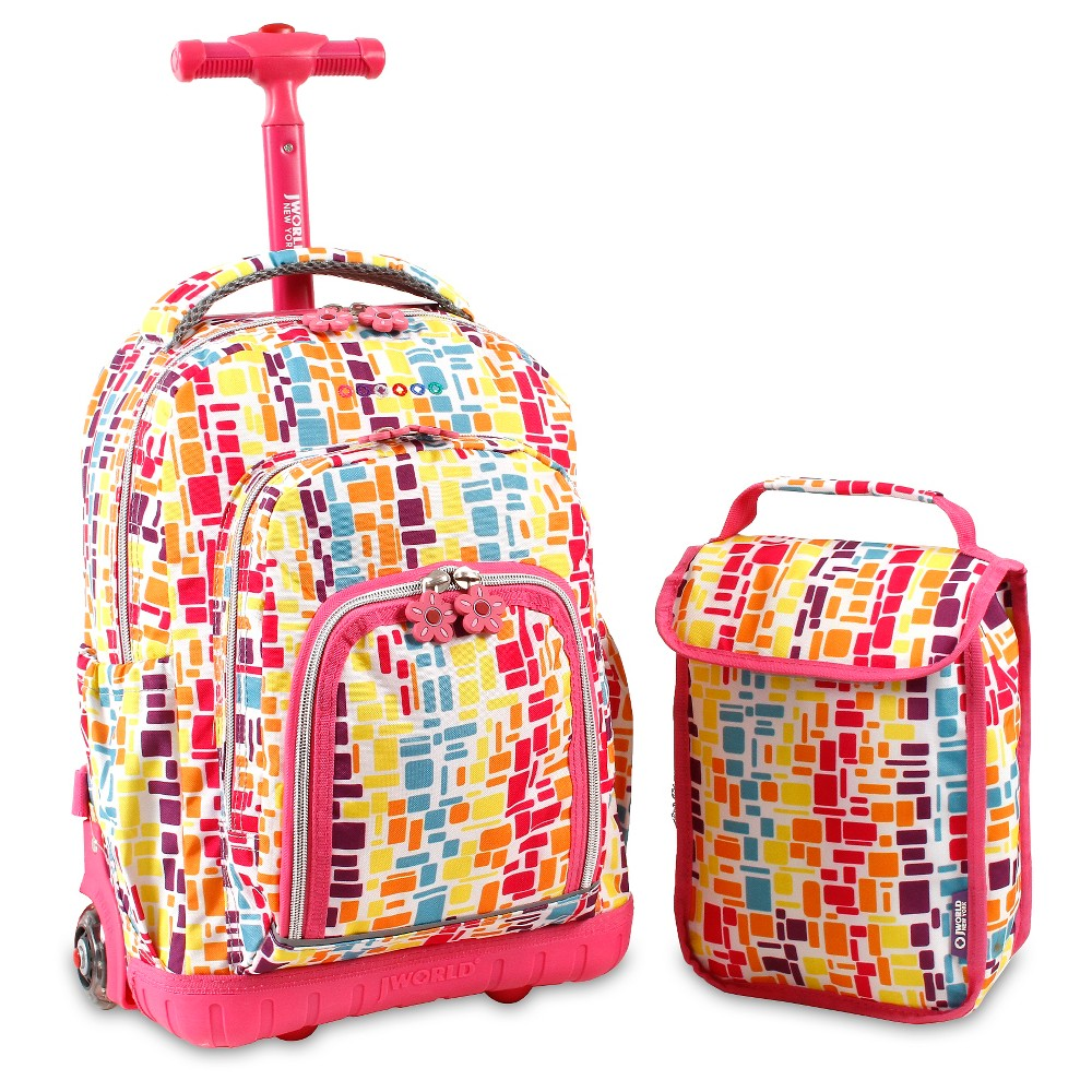 "Image of ""J World 16"""" Lollipop Rolling Backpack - Neon, Women's, Size: Small, Squares Neon"""