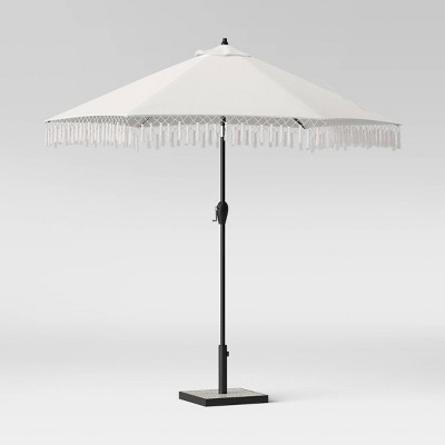 9' Round Fringed Patio Umbrella Linen - Black Pole - Opalhouse™