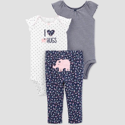 Baby Girls' 3pc Elephant Top And Bottom Set - Just One You® made by carter's Navy Blue/White 3M