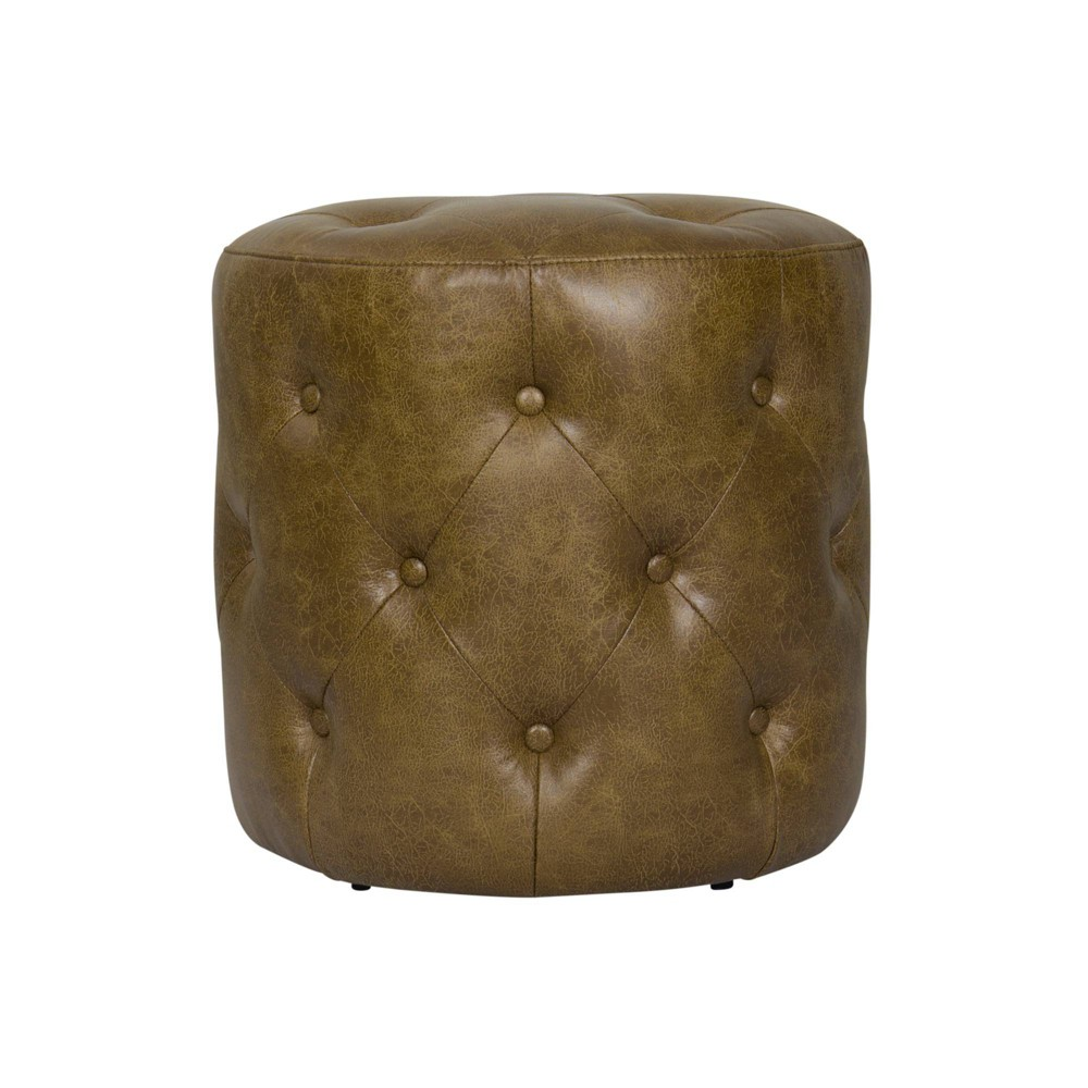 Round Tufted Ottoman Light Brown - Homepop was $104.99 now $78.74 (25.0% off)