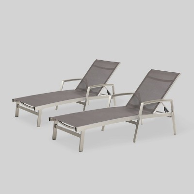 Oxton 2pk Mesh Patio Chaise Lounge - Gray - Christopher Knight Home