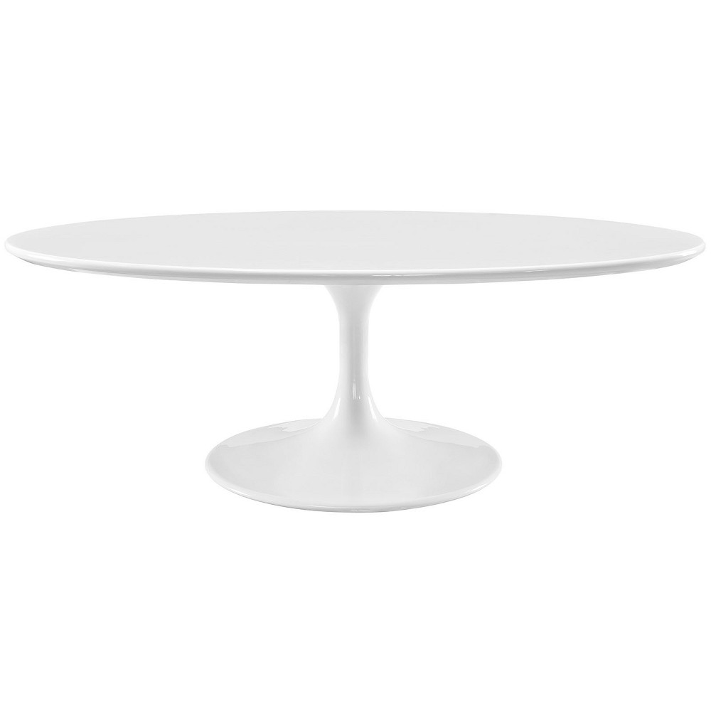 Lippa 48 OvalShaped Wood Top Coffee Table White - Modway