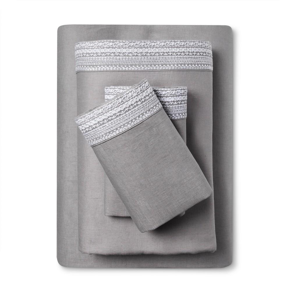 Image of 100% Linen Sheet Set (Full) Skyline Gray - Fieldcrest