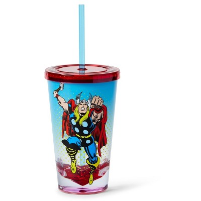 Just Funky Marvel Thor God Of Thunder Plastic Tumbler Cup Lid & Straw | Holds 19 Ounces