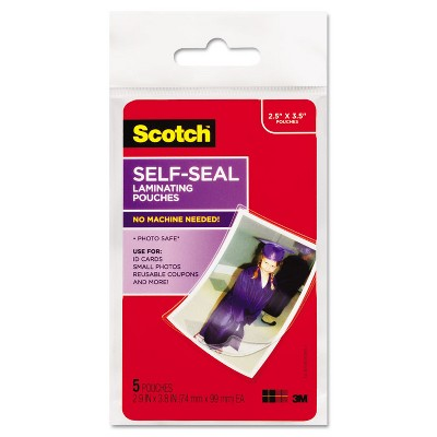 Scotch Self-Sealing Laminating Pouches Glossy 2 13/16 x 3 15/16 Wallet Size 5/Pack PL903G