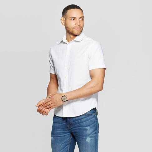 Men's Short Sleeve Novelty Button-Down Shirt - Goodfellow & Co™ White - image 1 of 3