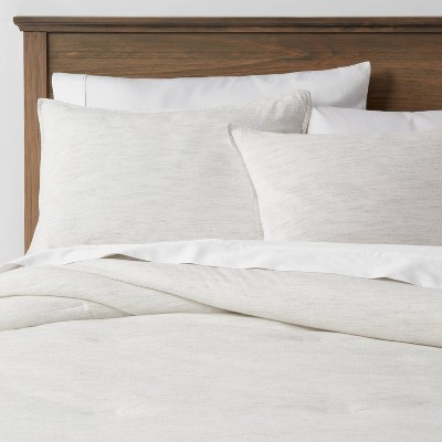 California King Space Dyed Cotton Linen Comforter & Sham Set Light Gray - Threshold™