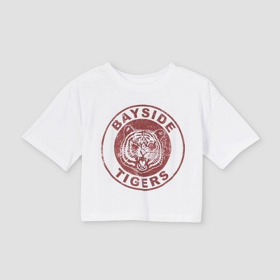 Girls' Saved by the Bell Bayside Tigers Cropped Short Sleeve Graphic T-Shirt - White