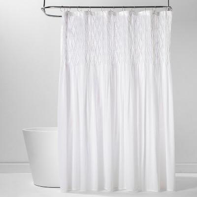 Diamond Pinch Pleats Shower Curtain White - Threshold™