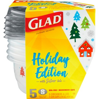 Glad Holiday Food Storage Containers Snack Size 14 oz 5 ct