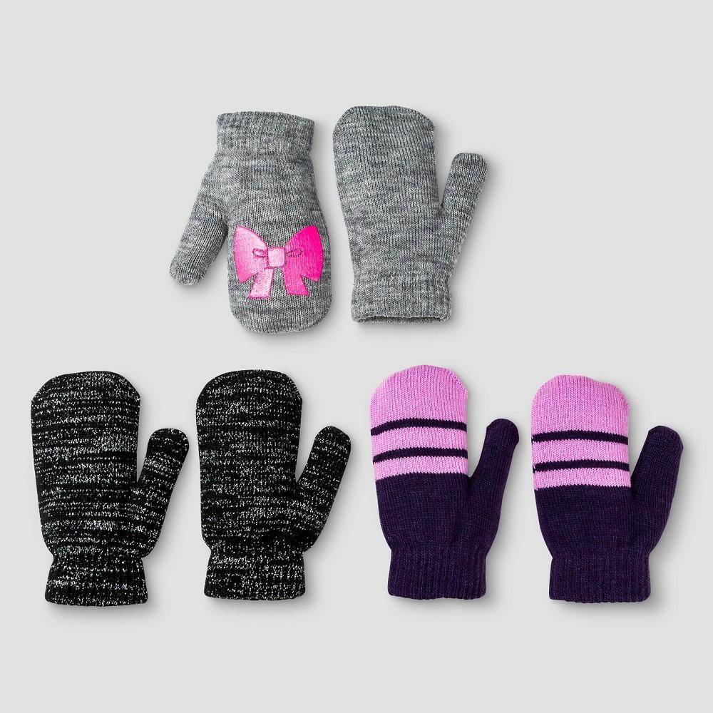 Girls' 3pk Mittens - Cat & Jack Heather (Grey) One Size