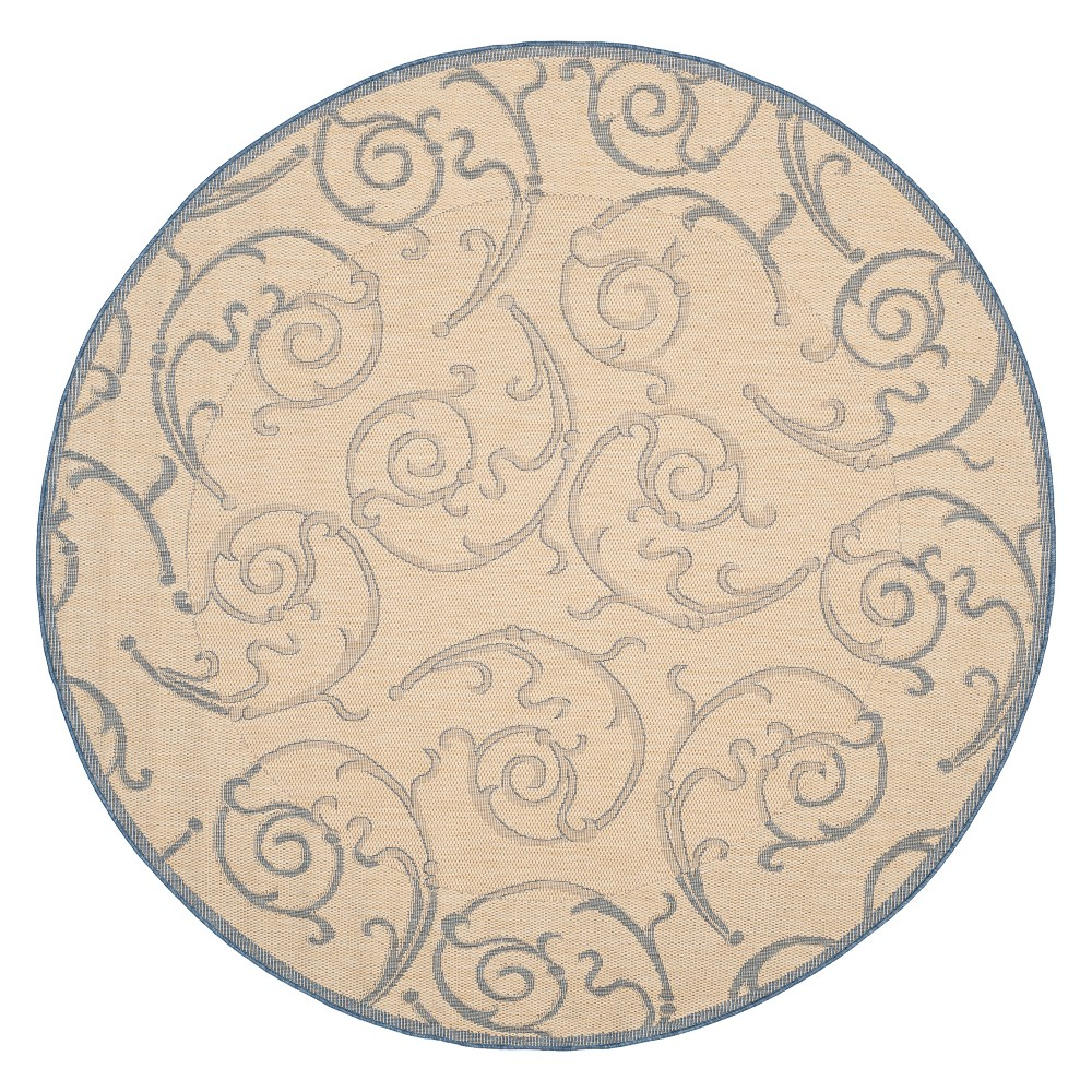 Best 710 Round Pembrokeshire Outer Patio Rug Natural Blue - Safavieh