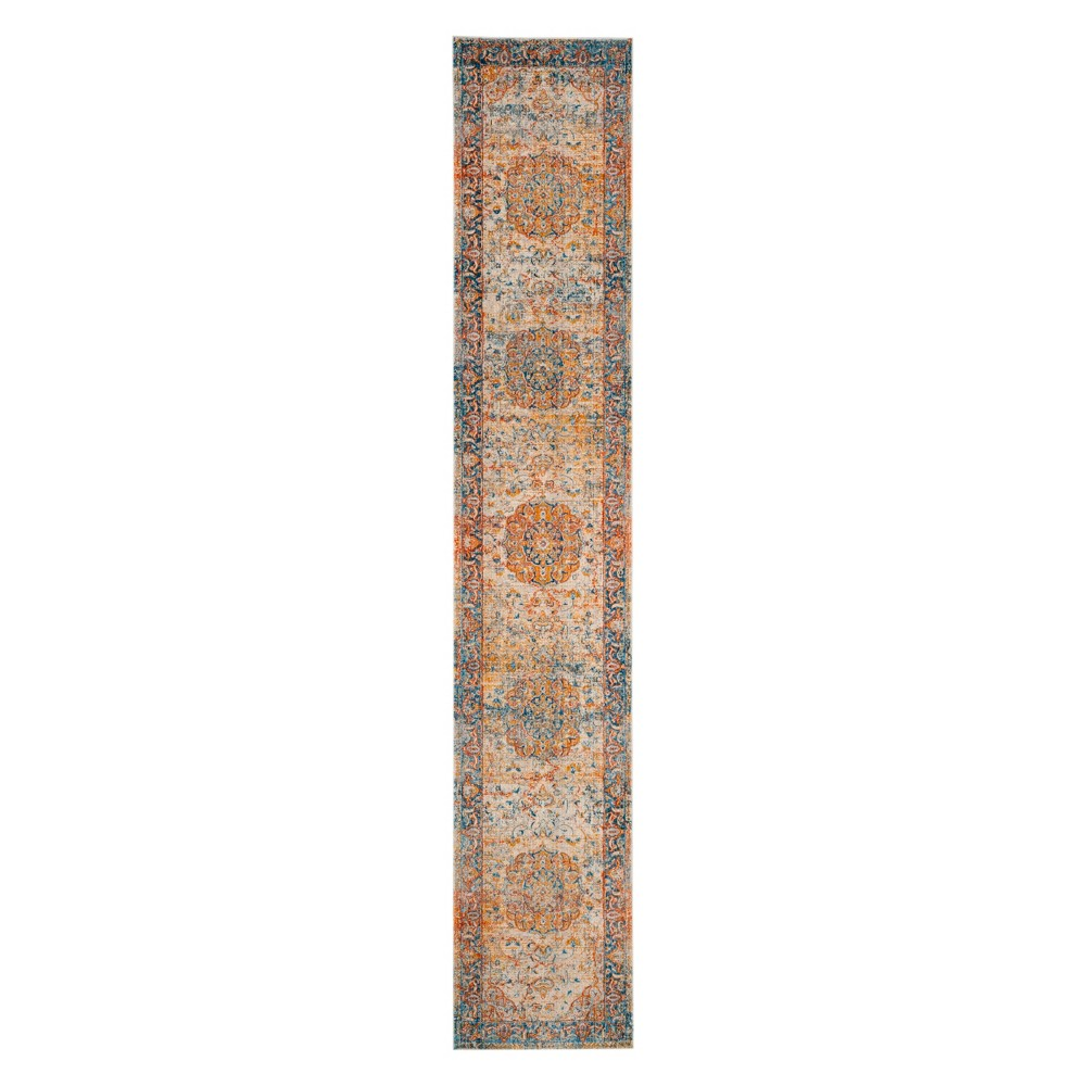 2'2X14' Medallion Loomed Runner Blue - Safavieh, Blue/Multi-Colored