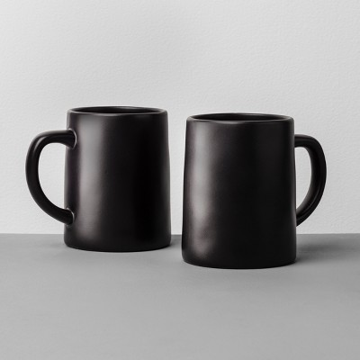 2pk Stoneware Mug Black - Hearth & Hand™ with Magnolia