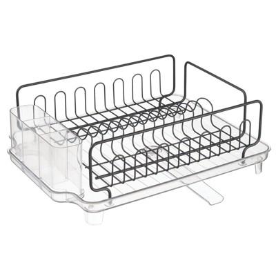 mDesign Large Kitchen Dish Drying Rack / Drainboard, Swivel Spout