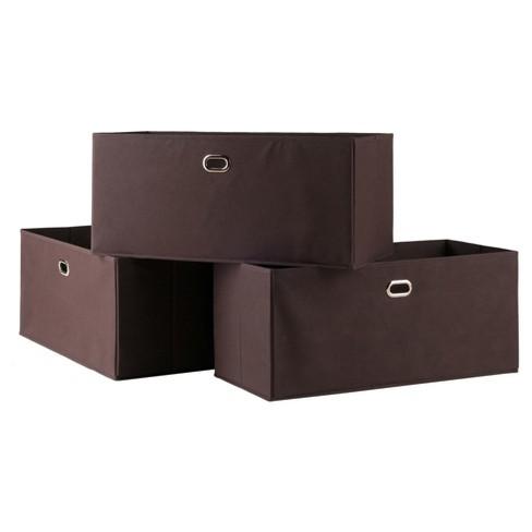 3pc Torino Folding Fabric Basket Chocolate - Winsome - image 1 of 4