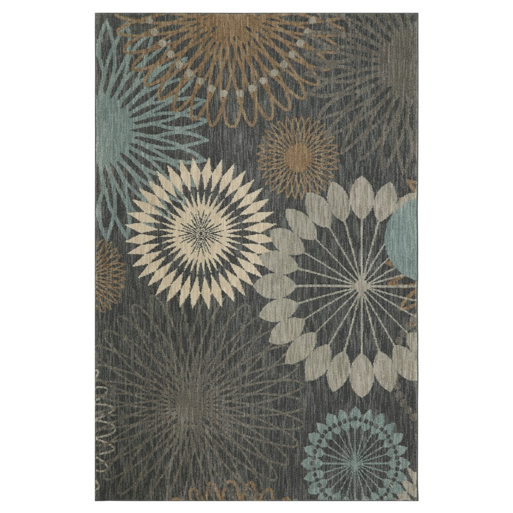 Image of Blue Floral Woven Area Rug 5'X7' - Karastan