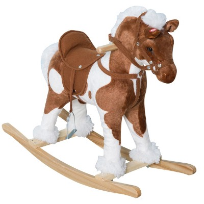 Qaba Kids Metal Plush Ride-On Rocking Horse Chair Toy With Nursery Rhyme Music - Light Brown / White