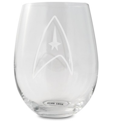 Surreal Entertainment Star Trek Stemless Wine Glass Decorative Etched Command Emblem | Holds 20 Ounces