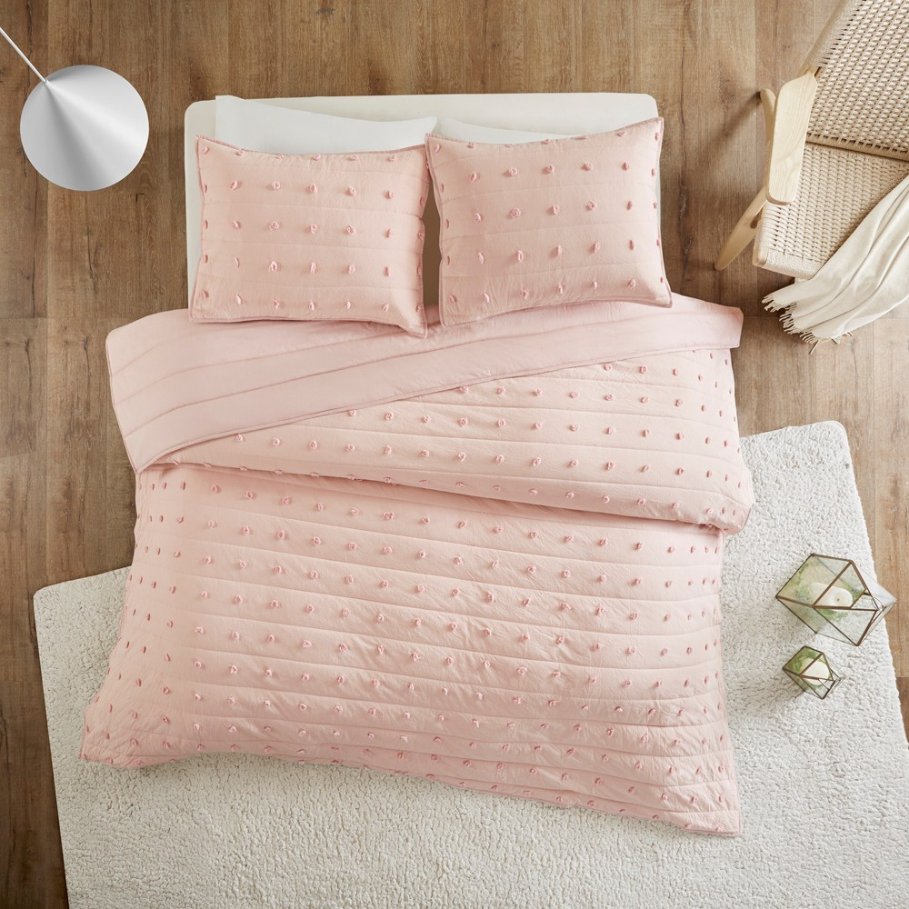 3pc Full/Queen Kay Cotton Jacquard Coverlet Set Pink
