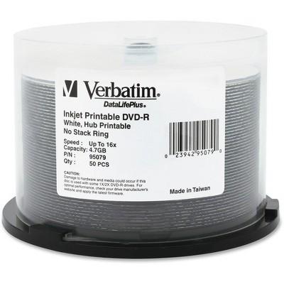 Verbatim DVD-R 4.7GB 16X DataLifePlus White Inkjet Printable, Hub Printable - 50pk Spindle - Hub Printable - 50pk Spindle
