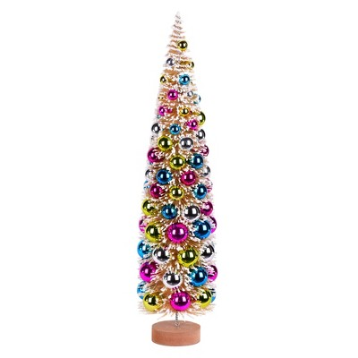 """Vickerman 24"""" Vintage Tabletop Frosted Gold Tree, Multi-colored Ornament"""