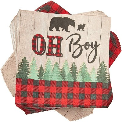 """Sparkle and Bash 100 Pack Buffalo Plaid OH BOY Party Paper Napkins 6.5"""" for Baby Shower Decorations"""