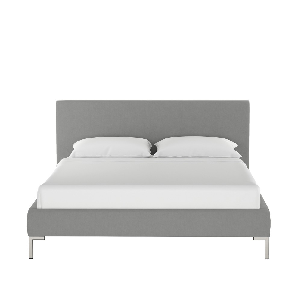 Queen Daisy Platform Bed with Silver Metal Y Legs Gray Velvet - Cloth & Co.