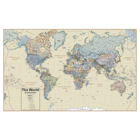 Round World Products Hemispheres Boardroom World Wall Map - image 1 of 1
