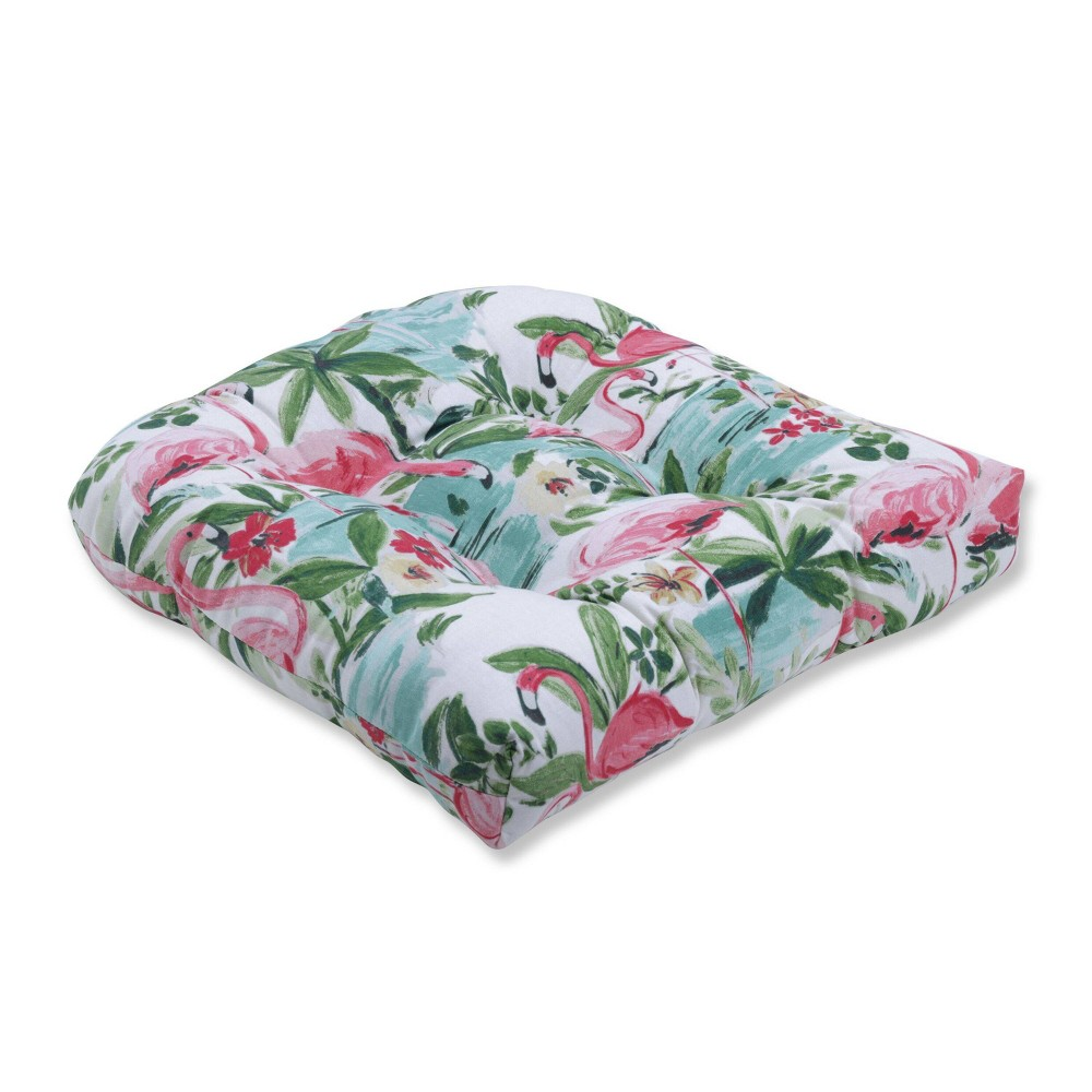 Image of Floridian Flamingo Bloom Wicker Seat Cushion - Pillow Perfect, Pink Green Beige