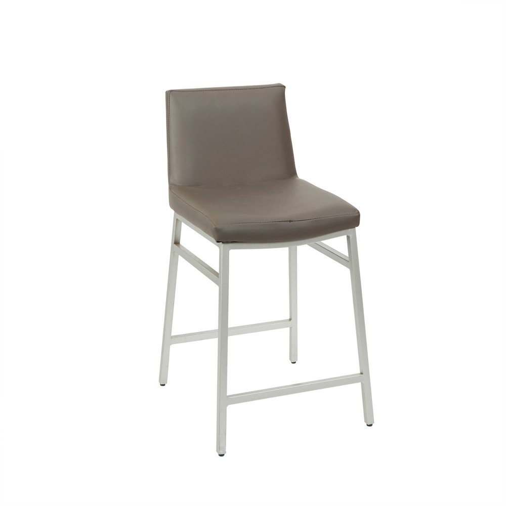 "Image of ""24"""" Norton Upholstered Square Back Metal Barstool Charocal - Silverwood"""