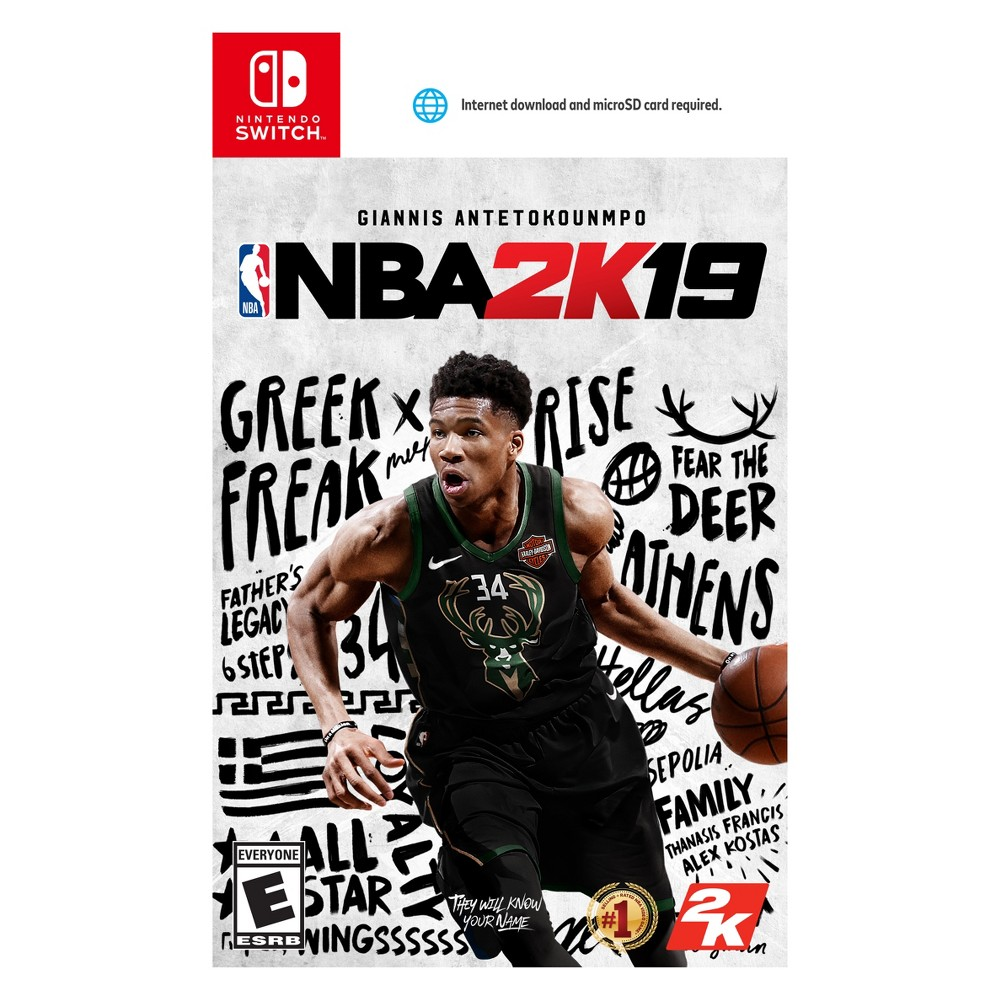 NBA 2K19 - Nintendo Switch Celebrate 20 years of NBA gaming fun with NBA 2K19 - Nintendo Switch. With an immersive Story line, NBA 2k features gameplay and groundbreaking graphics like never before. Take control of your basketball game with the all new takeover feature or even activate your teams takeover and rediscover the true potential of your basketball squad. With an all-star cast, the MyCareer mode see's an update along with the MyTeam that features an all new unlimited mode that allows you to pick any five players from a deck of cards and battle other players online! Run the neighborhood and claim yourself king of the court with NBA 2k19.