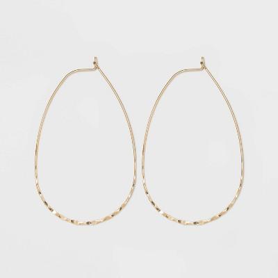 Wire Teardrop Hoop Earrings - Universal Thread™ Worn Gold