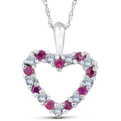 "Pompeii3 1/2ct Ruby & Diamond Heart Pendant Necklace 14 Karat White Gold 1/2"" Tall"