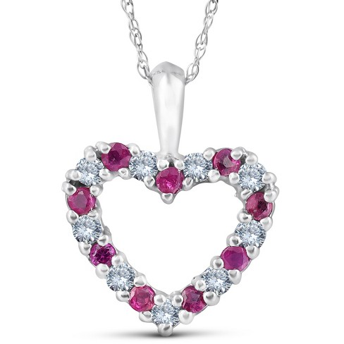 "Pompeii3 1/2ct Ruby & Diamond Heart Pendant Necklace 14 Karat White Gold 1/2"" Tall - image 1 of 4"