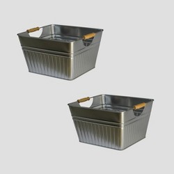 2pk Metal Storage Bins Medium Silver - Bullseye's Playground™