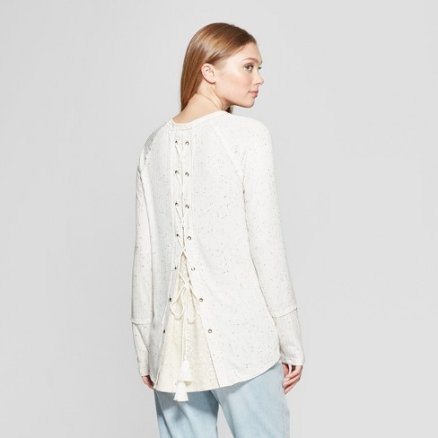 Women s Long Sleeve Lace-Up Back Top - Knox Rose™ Ivory XS   Target 58434d2bc