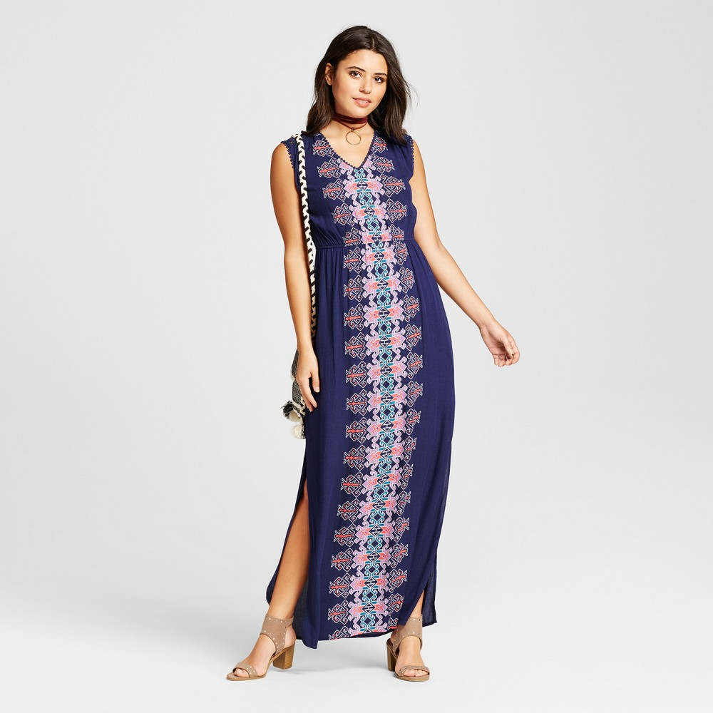 Women's Printed Maxi Dress - Xhilaration (Juniors') Blue Xxl