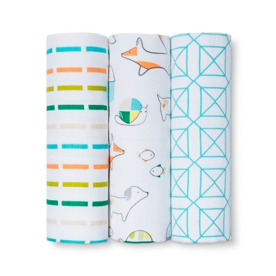 Muslin Baby Blankets Animals 3pk - Cloud Island™ Orange