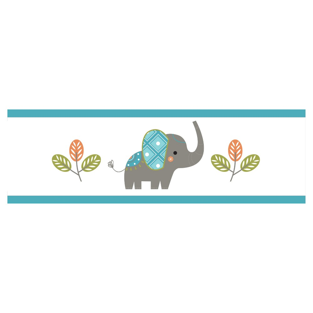 Image of Gray & Turquoise Mod Elephant Wall Border - Sweet Jojo Designs, Blue Gray White