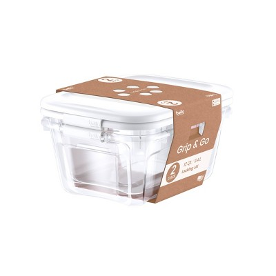 Grip & Go 2pk 12qt Locking Lid Clear Bottom With White Lid - Bella Storage