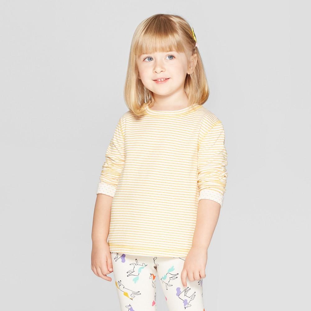 Toddler Girls' Striped Sweatshirt - Cat & Jack Orange 5T, Yellow