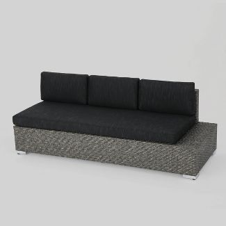 Aluminum Patio Sofa with Cushion - Black/Gray - Christopher Knight Home