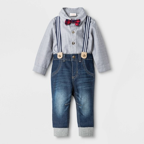 Baby Boys' Suspender Top and Bottom Set with Bowtie - Cat & Jack™ Gray/Blue - image 1 of 2